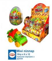 """Яйцо пластмассовое """"Мини Пиллар"""" с игрушкой и драже прозрачное (12 шт/уп)"""
