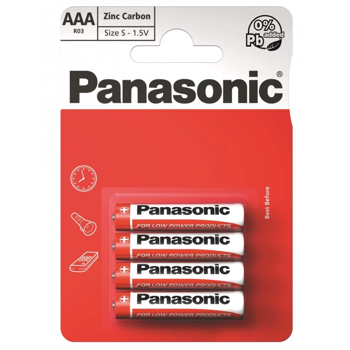 "Батарейка ""PANASONIC"" RED R03 BLI 4 Zink Carbon (мизинец)"