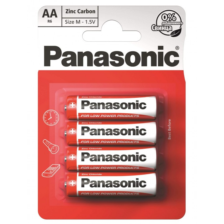 "Батарейка ""PANASONIC"" RED R06 BLI 4 Zink Carbon (палец)"