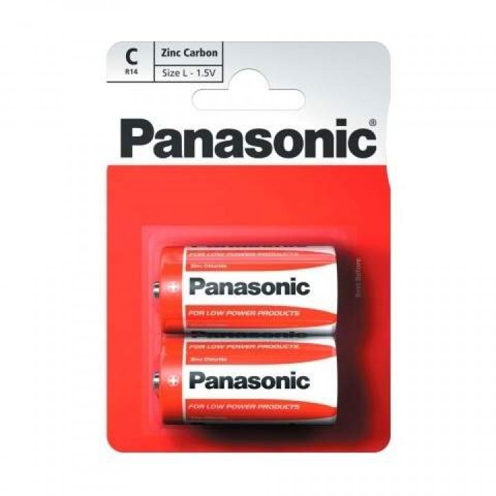 "Батарейка ""PANASONIC"" RED R14 BLI 2 Zink Carbon (мини-бочка)"