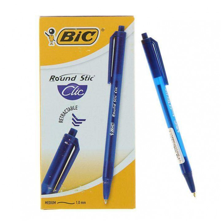 "Ручка ""BIC"" Round Stic Clic синий (12 шт/уп)"