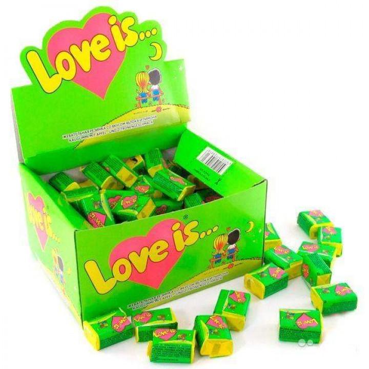 """Жевательная резинка """"Love is..."""" яблоко-лимон (100 шт)"""