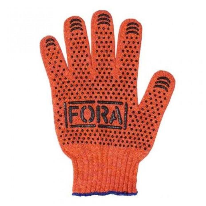 """Перчатки """"Doloni"""" 15300 рабочие трикотажные """"FORA"""" с ПВХ оранжевые 7 класс (10 размер)"""