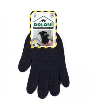 """Перчатки """"Doloni"""" 540 рабочие трикотажные двойные без ПВХ черные 10+7 класс (10 размер)"""