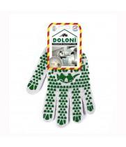 """Перчатки """"Doloni"""" 547 рабочие трикотажные с ПВХ белые 7 класс (10 размер)"""