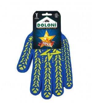 """Перчатки """"Doloni"""" 587 """"Звезда"""" рабочие трикотажные с ПВХ синие 7 класс (10 размер)"""