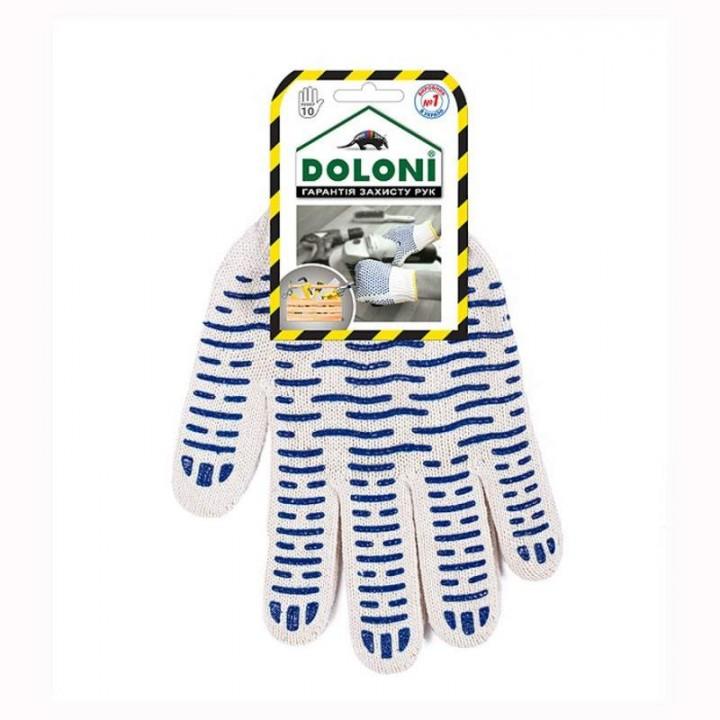 """Перчатки """"Doloni"""" 621 """"Волна"""" трикотажные с ПВХ белые 10 класс (10 размер)"""