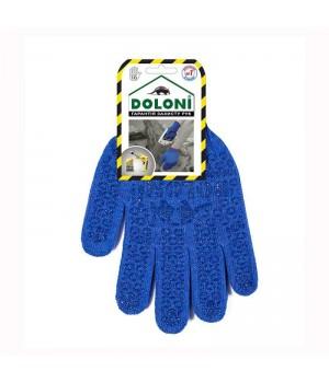 """Перчатки """"Doloni"""" 646 рабочие трикотажные с ПВХ синие 10 класс (10 размер)"""