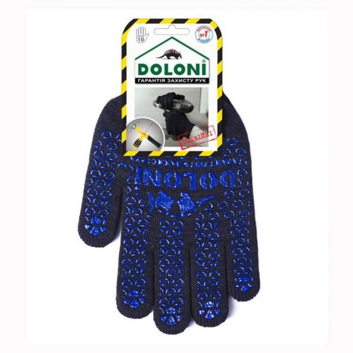 """Перчатки """"Doloni"""" 648 рабочие трикотажные двойные с ПВХ черные 7 класс + 10 класс (10 размер)"""