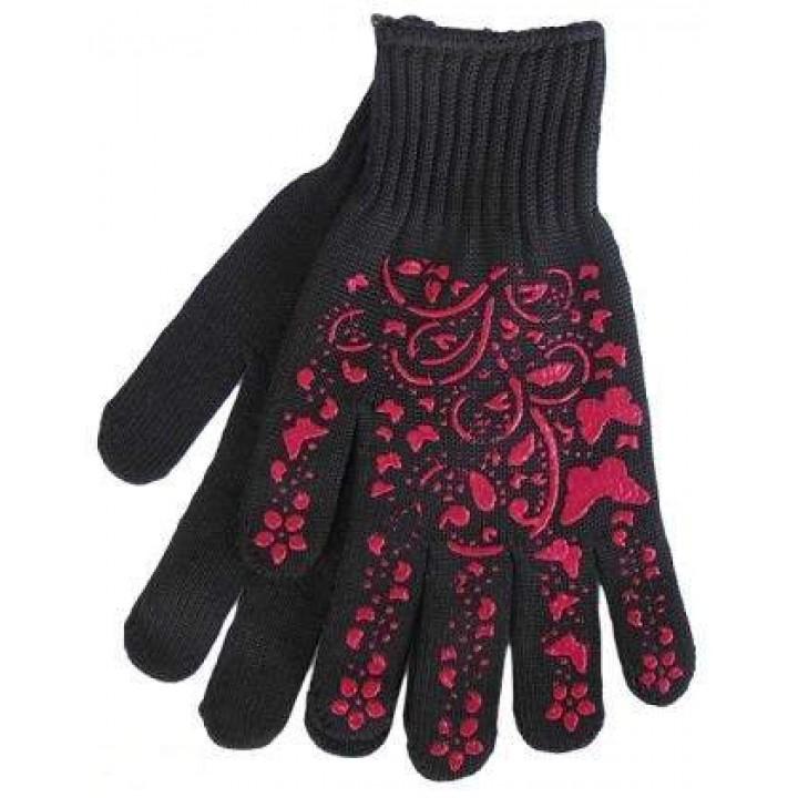 """Перчатки """"Doloni"""" 711 """"Бабочки"""" трикотажные с ПВХ черные 10 класс (9 размер)"""