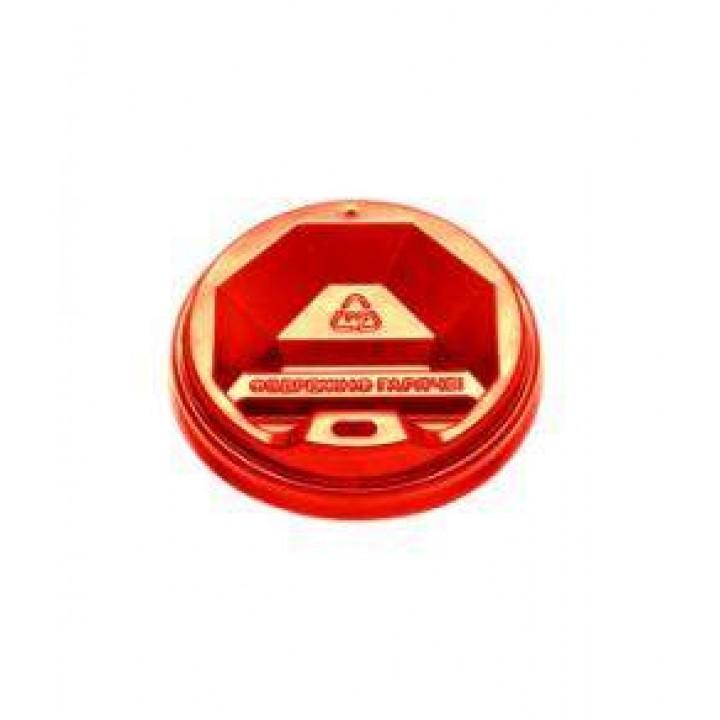 Крышка на стакан бумажный 350-450 мл KR90 красная (50 шт/уп)