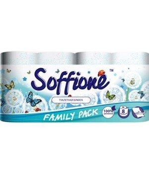"""Туалетная бумага на гильзе """"SOFFIONE"""" Family pack (8 шт/уп)"""