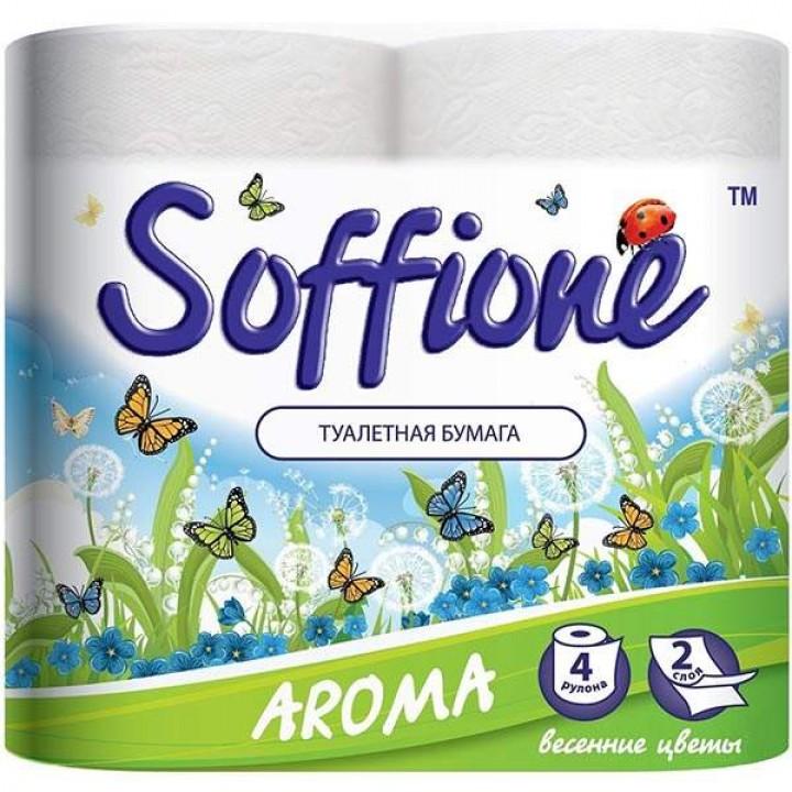"""Туалетная бумага на гильзе """"SOFFIONE"""" Aroma весенние цветы (4 шт/уп)"""