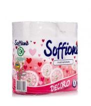"""Туалетная бумага на гильзе """"SOFFIONE"""" Decoro бело-розовая (4 шт/уп)"""