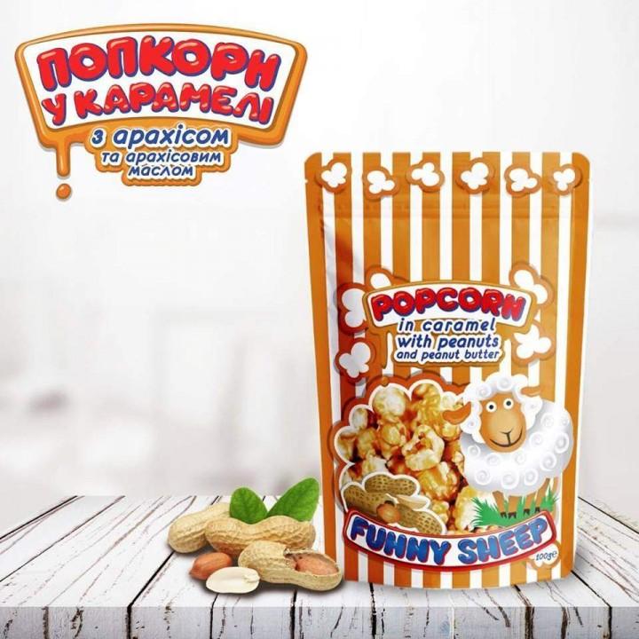 Попкорн в карамели с арахисом (100 г)